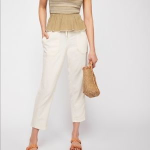 Free People Palmer Utility Crop Linen Pants